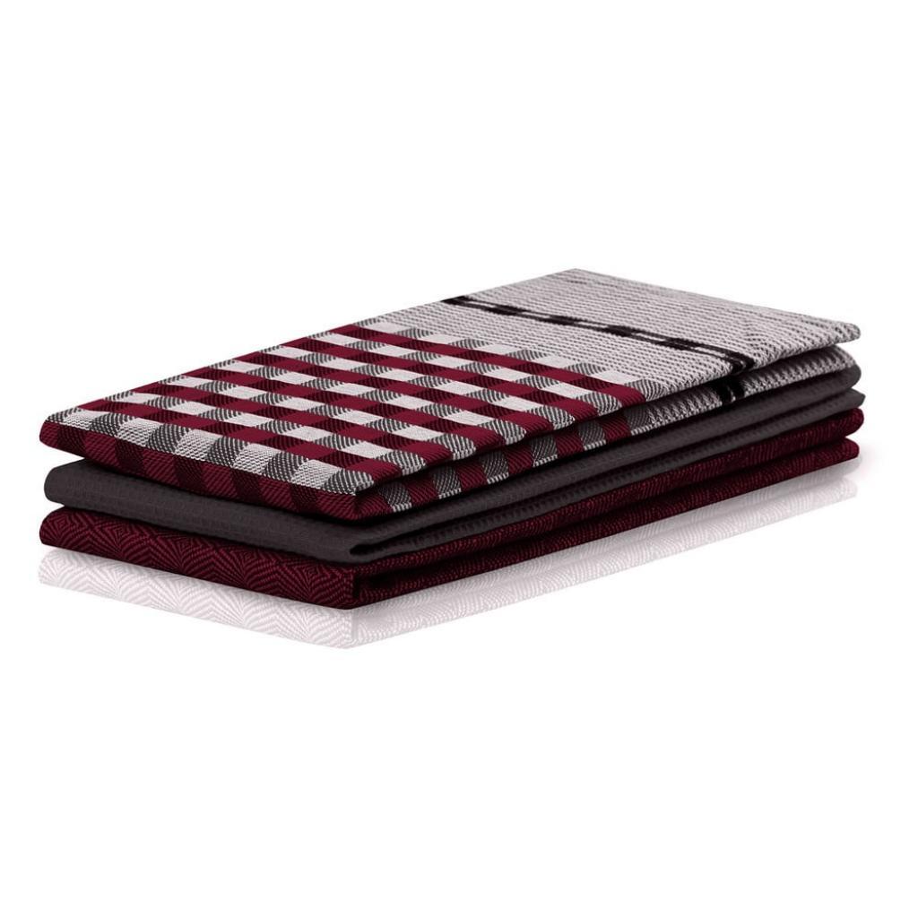 Produktové foto Sada 3 vínovo-černých bavlněných utěrek DecoKing Louie, 50 x 70 cm