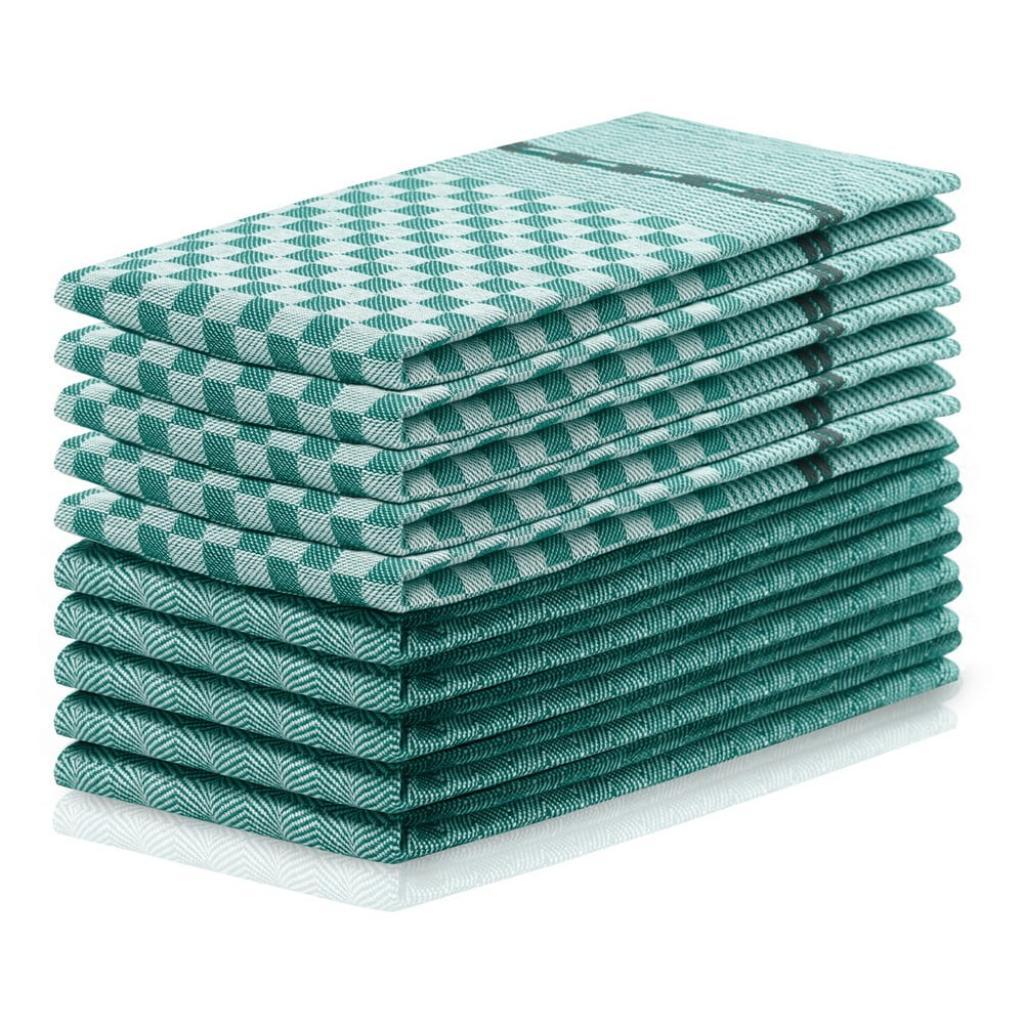 Produktové foto Sada 10 tmavě zelených bavlněných utěrek DecoKing Louie, 50 x 70 cm