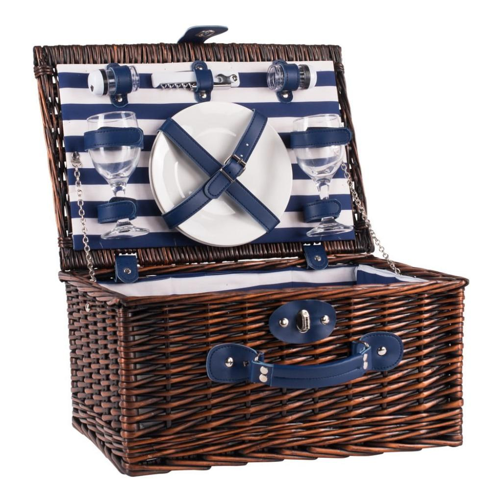 Produktové foto Pruhovaný proutěný piknikový koš s vybavením pro 2 osoby Navigate Basket
