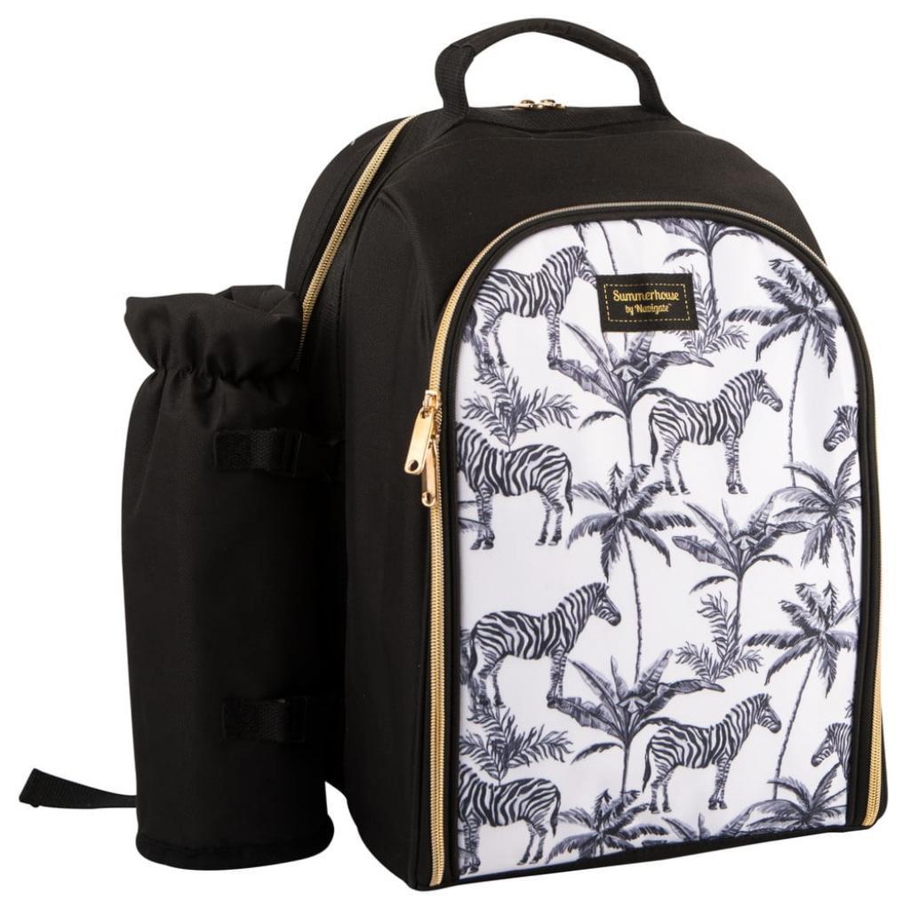 Produktové foto Černobílý chladící batoh s piknikovým vybavením pro 2 osoby Navigate Madagaskar, 15 l