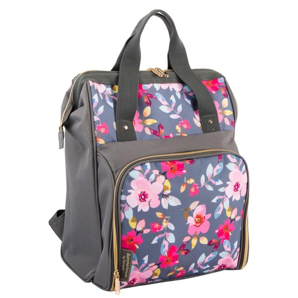 Produktové foto Šedý květovaný chladící batoh s piknikovým vybavením pro 2 osoby Navigate Grey Floral, 15 l