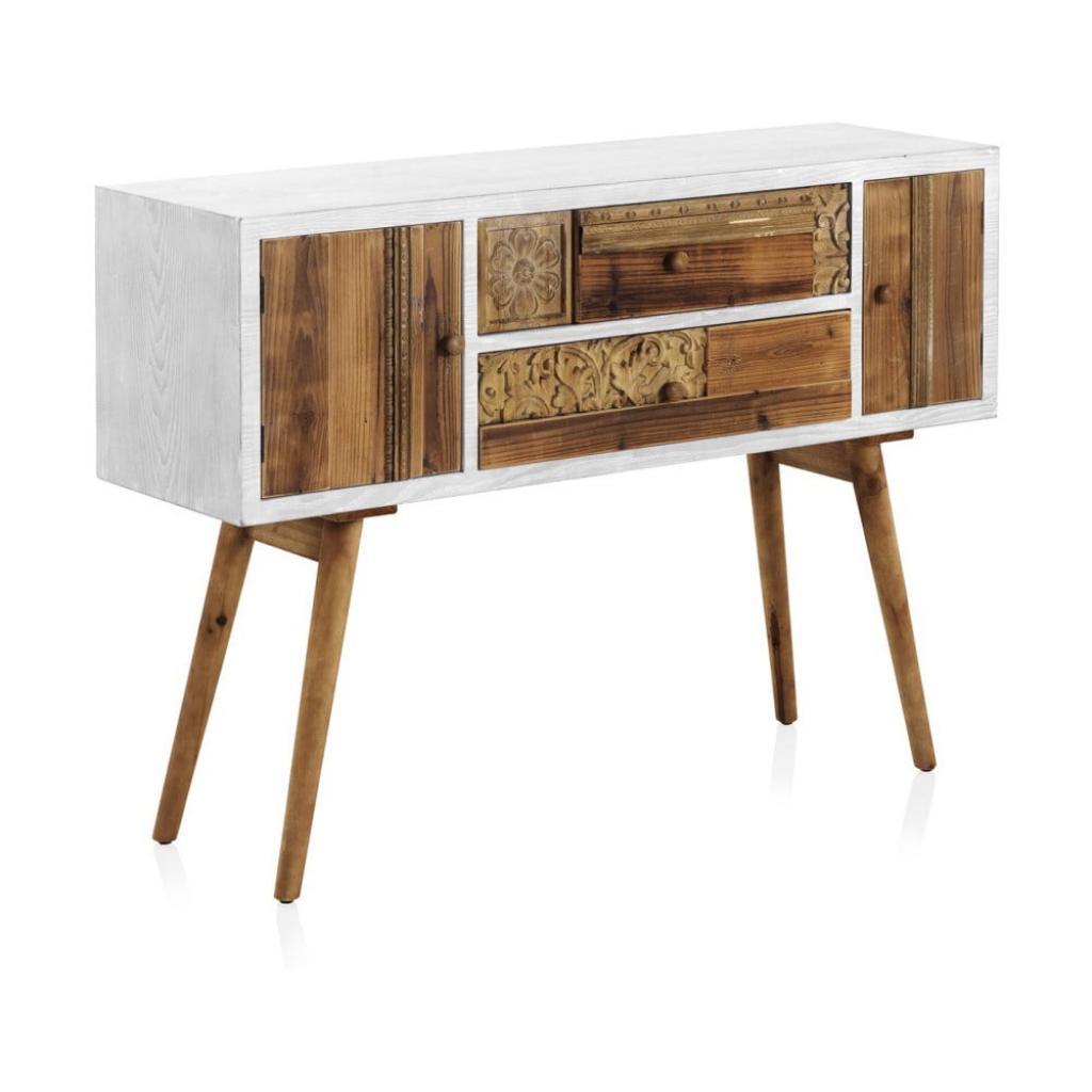 Produktové foto Konzolový stůl s bílými detaily a dvěma šuplíky Geese Rustico Puro
