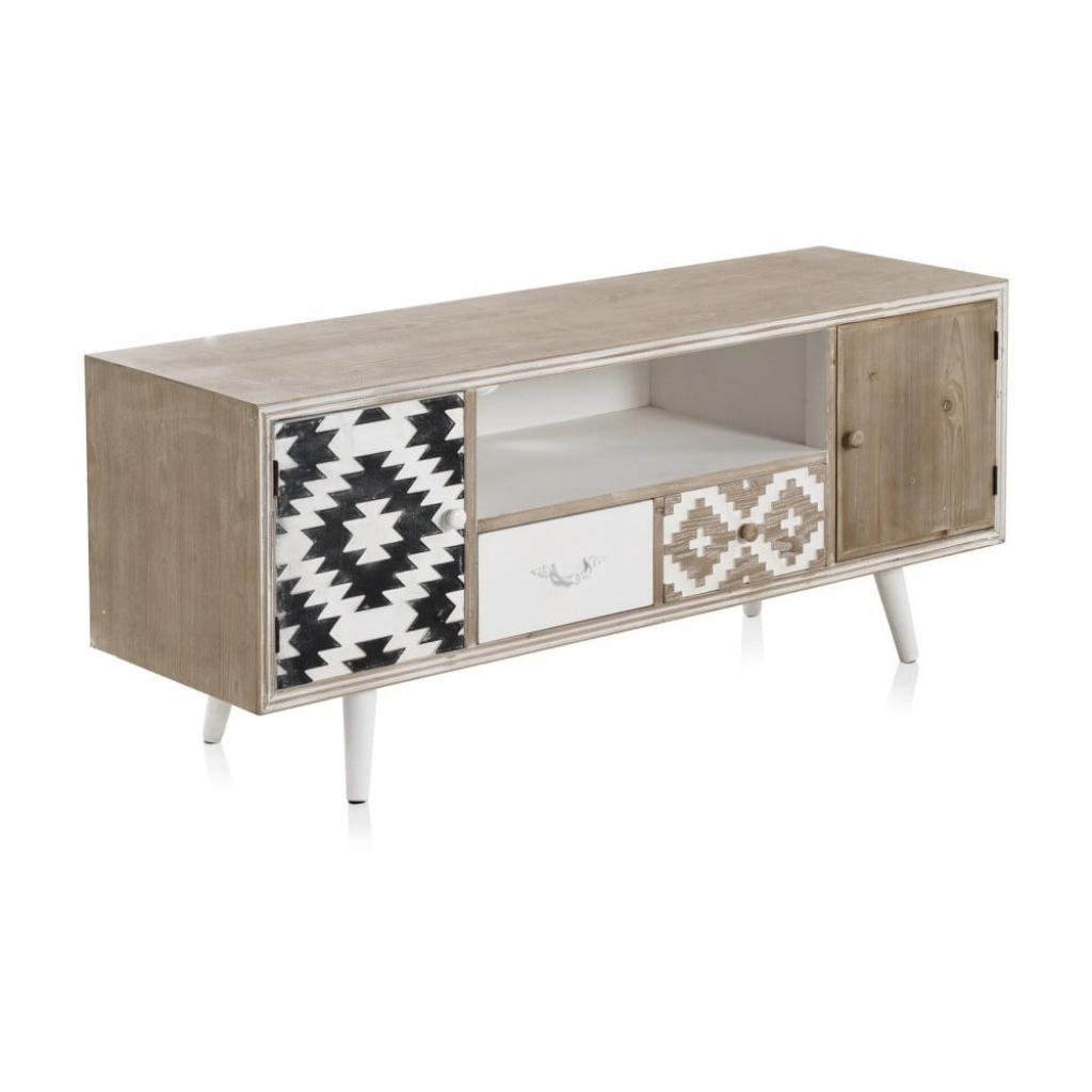 Produktové foto TV stolek s černobílými detaily a dvěma šuplíky Geese Rustico Geometric