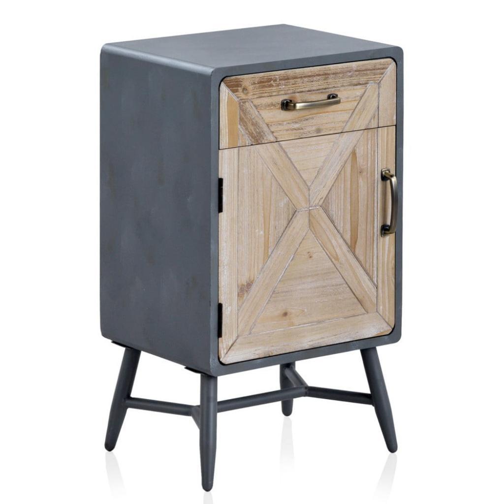 Produktové foto Noční stolek s šedými detaily Geese Rustico Duro