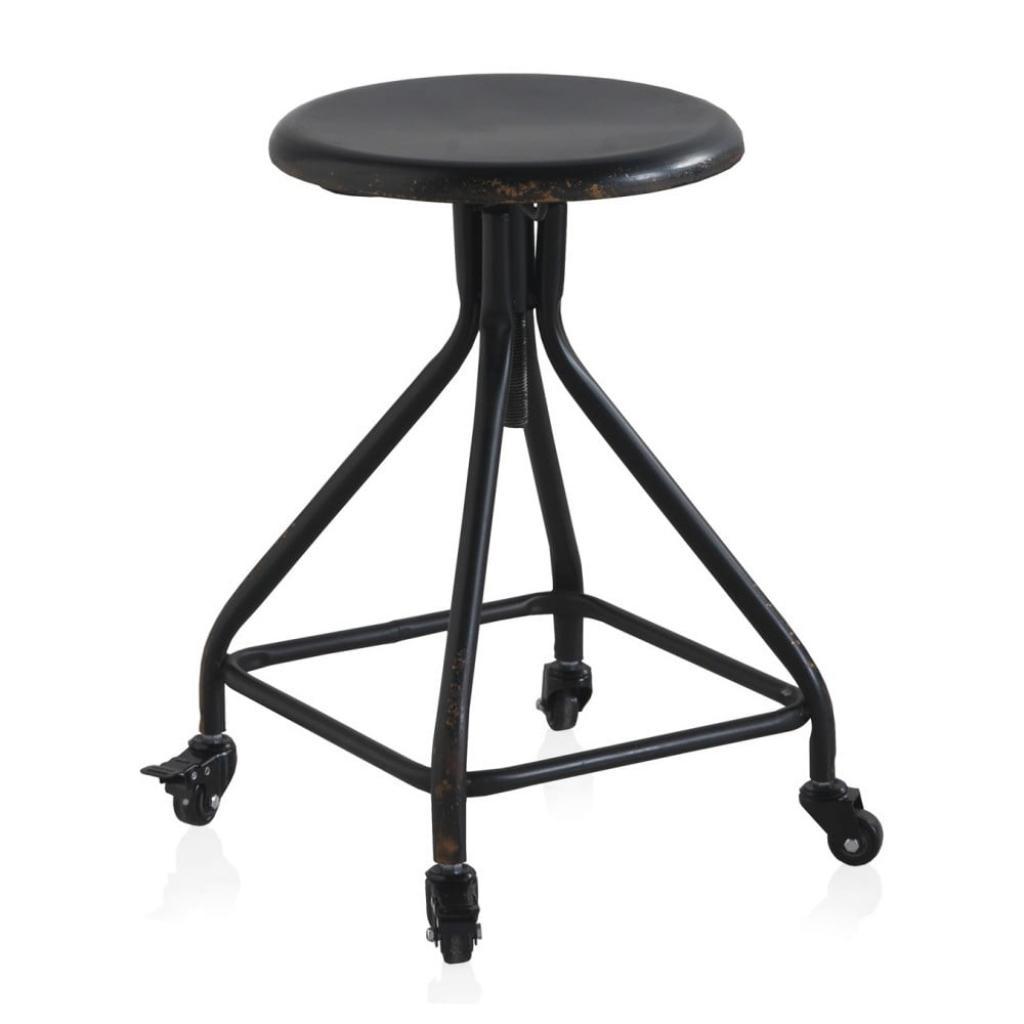 Produktové foto Černá kovová pojízdná stolička na kolečkách s nastavitelnou výškou Geese Industrial Style