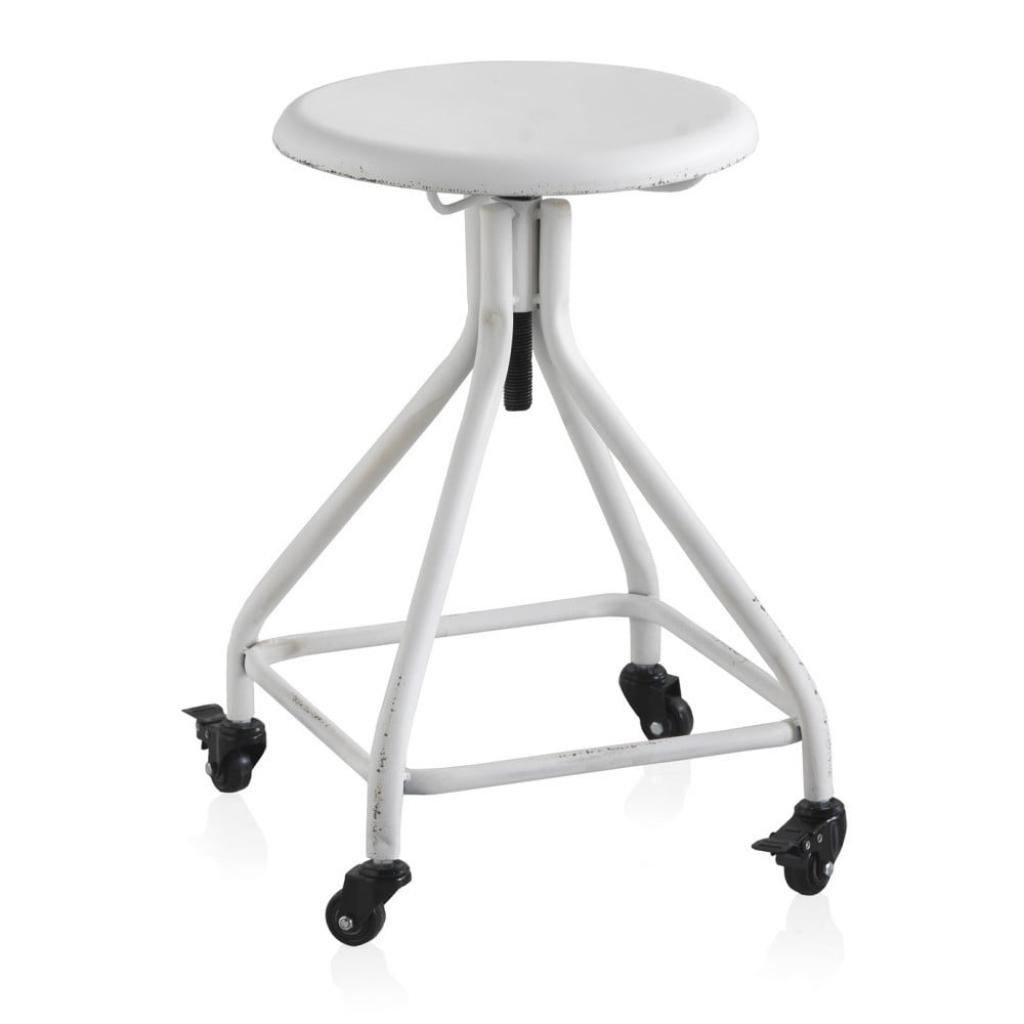 Produktové foto Bílá kovová pojízdná stolička na kolečkách s nastavitelnou výškou Geese Industrial Style