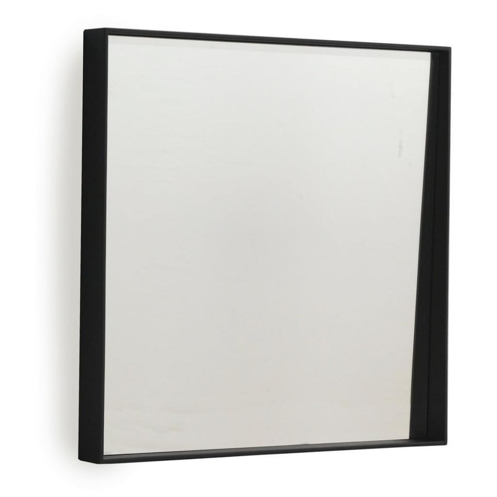Produktové foto Černé nástěnné zrcadlo Geese Thin, 40x40cm
