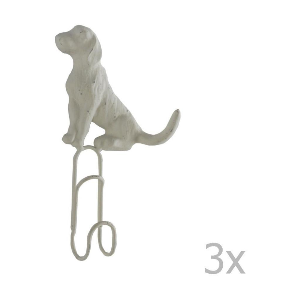 Produktové foto Sada 3 bílých nástěnných kovových věšáků Geese Doggy