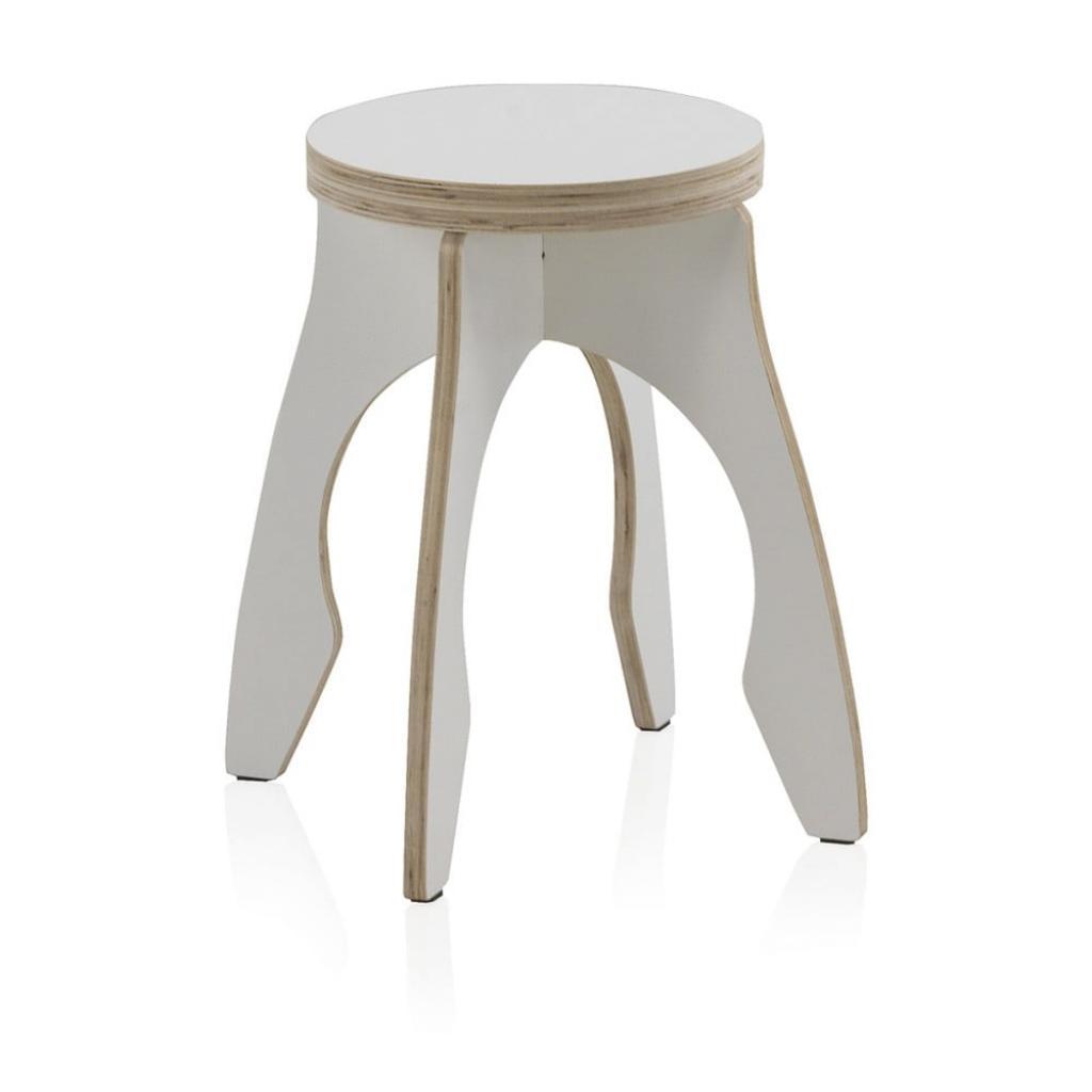 Produktové foto Bílá dětská stolička z překližky Geese Piper, ⌀ 41 cm