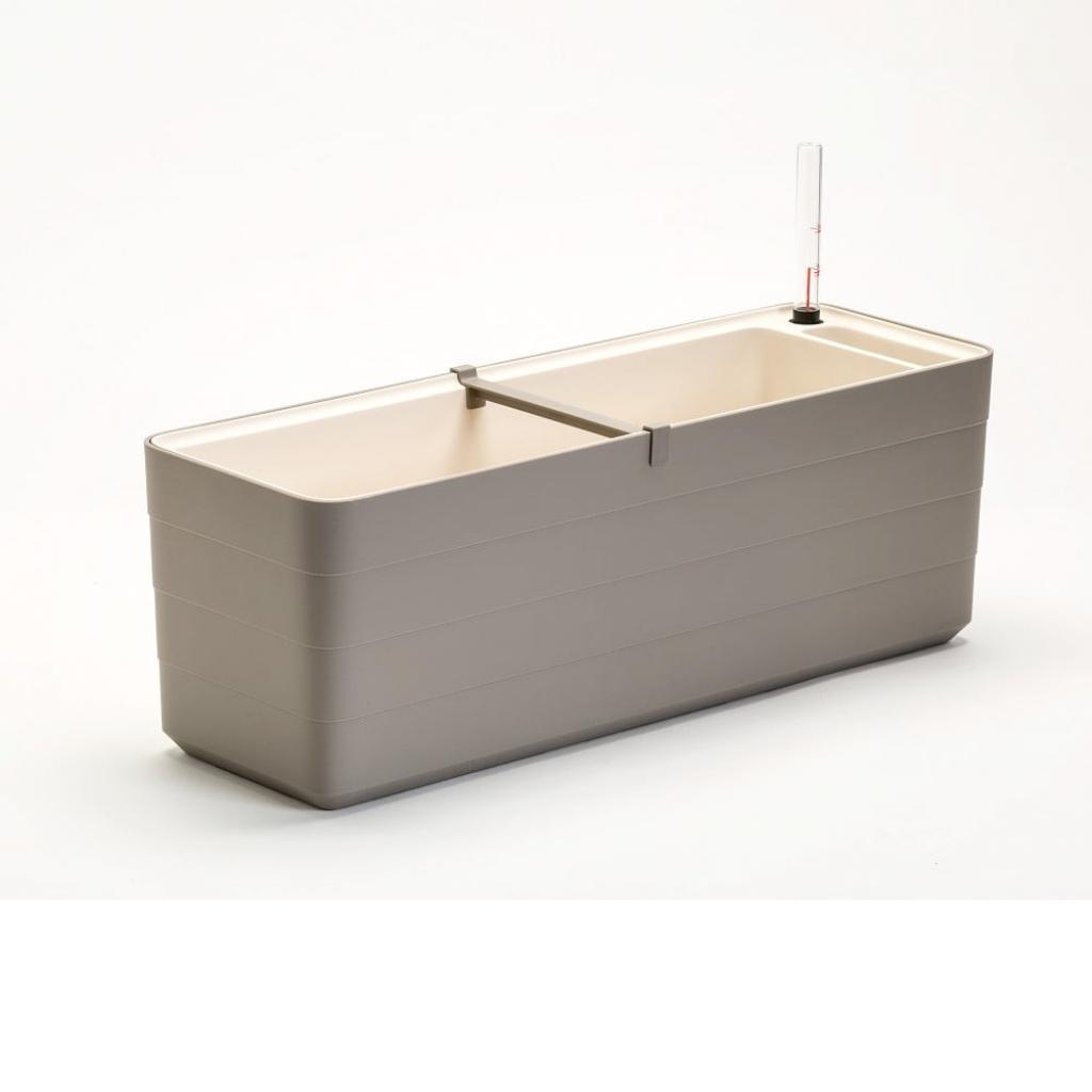 Produktové foto Šedo-béžový samozavlažovací truhlík Plastia Berberis , délka59 cm