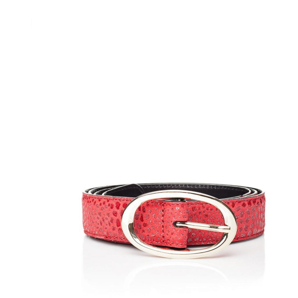 Produktové foto Červený kožený dámský pásek Ferruccio Laconi Hera, délka 85 cm