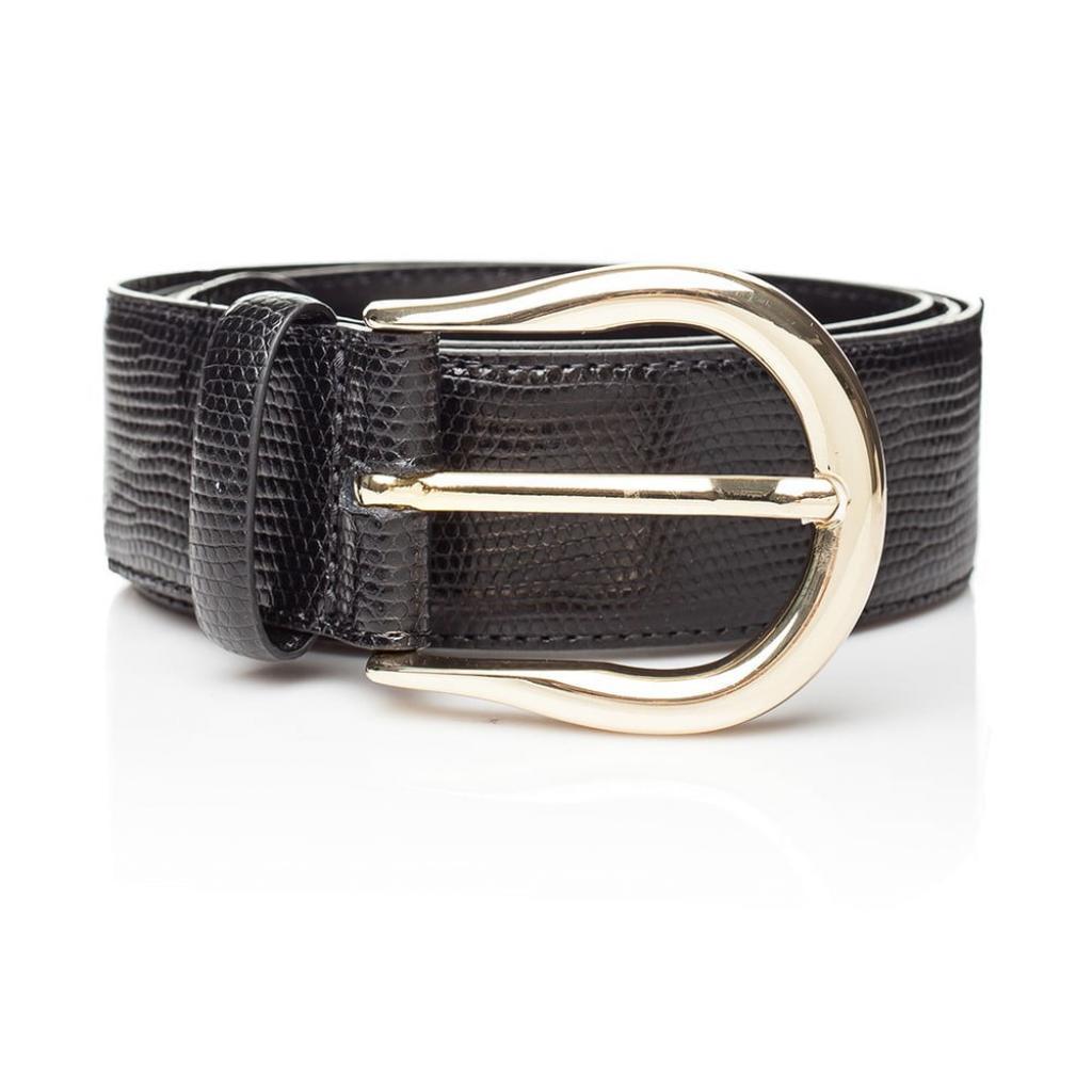 Produktové foto Černý kožený dámský pásek Ferruccio Laconi Tyche, délka 95 cm