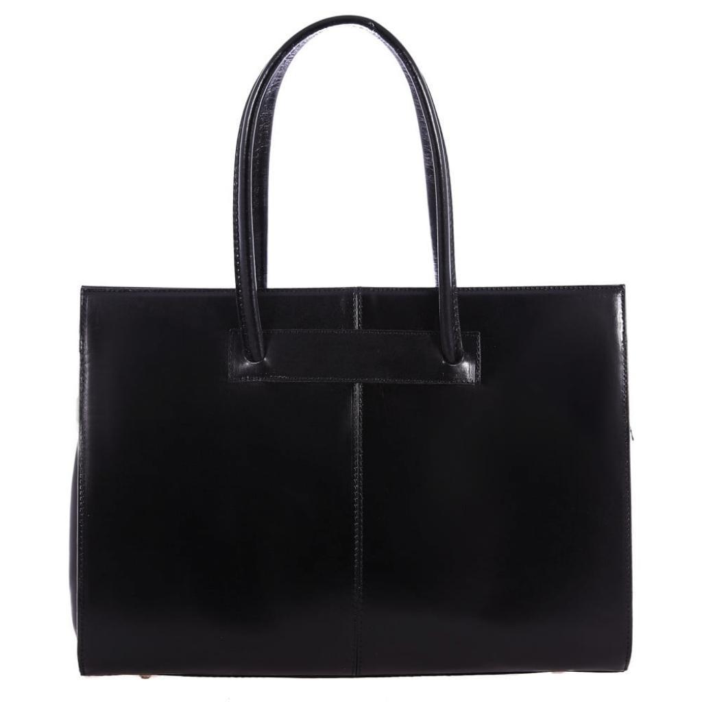 Produktové foto Černá kožená kabelka Chicca Borse Anna