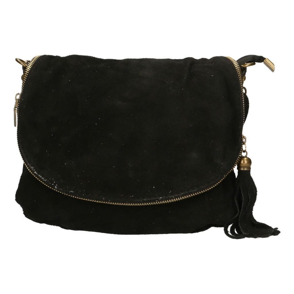 Produktové foto Černá kožená kabelka Chicca Borse Sullo