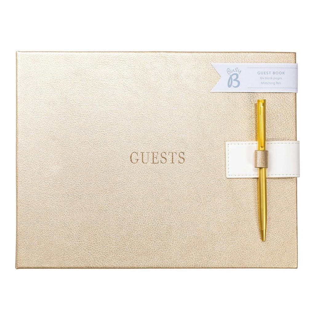 Produktové foto Kniha hostů ve zlaté barvě Busy B