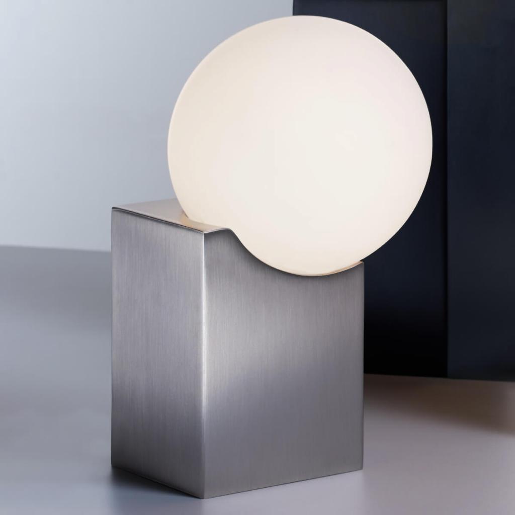 Produktové foto Pujol Stolní lampa Cub 17,5 cm nikl matný