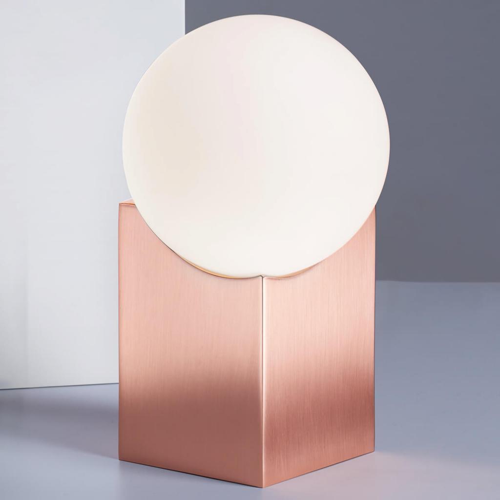 Produktové foto Pujol Stolní lampa Cub 17,5 cm měď
