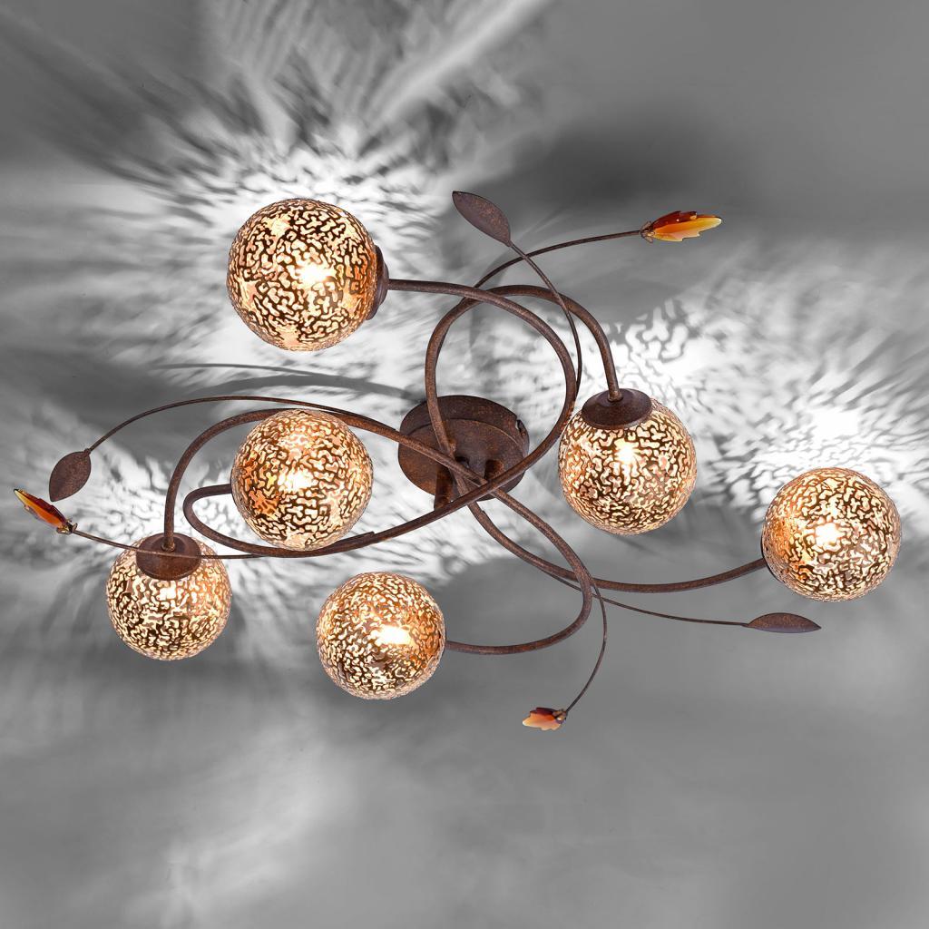 Produktové foto Paul Neuhaus Šestiramenné světlo Greta vkvětinovém designu