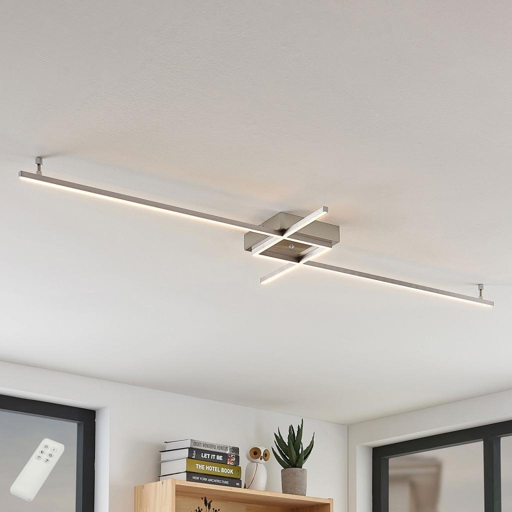 Produktové foto Lucande Keki– stropní LED svítidlo sdálkovým ovladačem