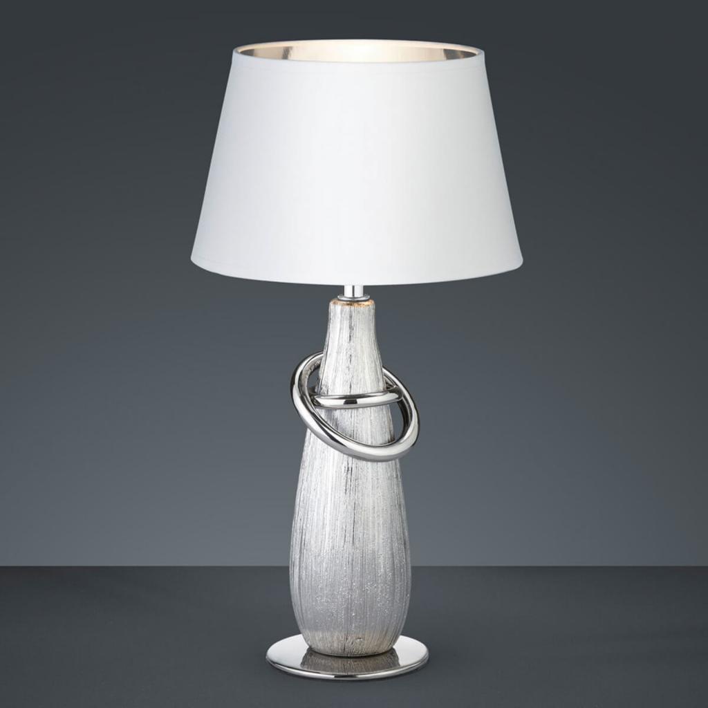 Produktové foto Reality Leuchten Thebes stolní světlo se stříbrnou keramickou nohou