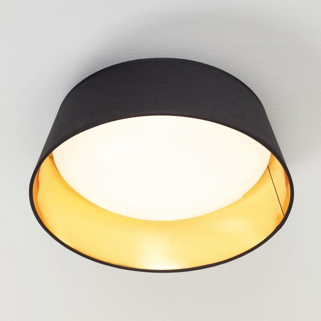 Produktové foto Reality Leuchten Černozlaté textilní stropní světlo Ponts s LED