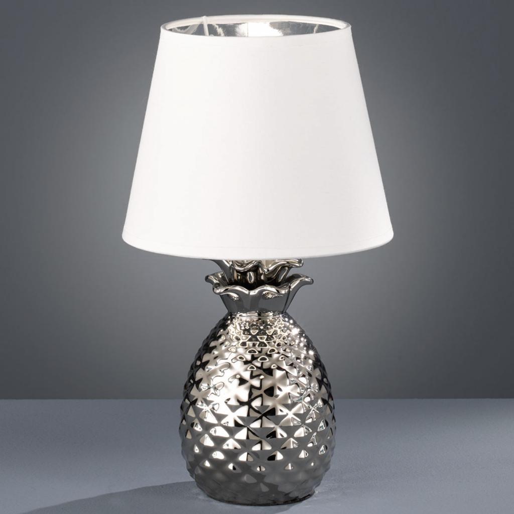 Produktové foto Reality Leuchten Keramická stolní lampa Pineapple, stříbrná