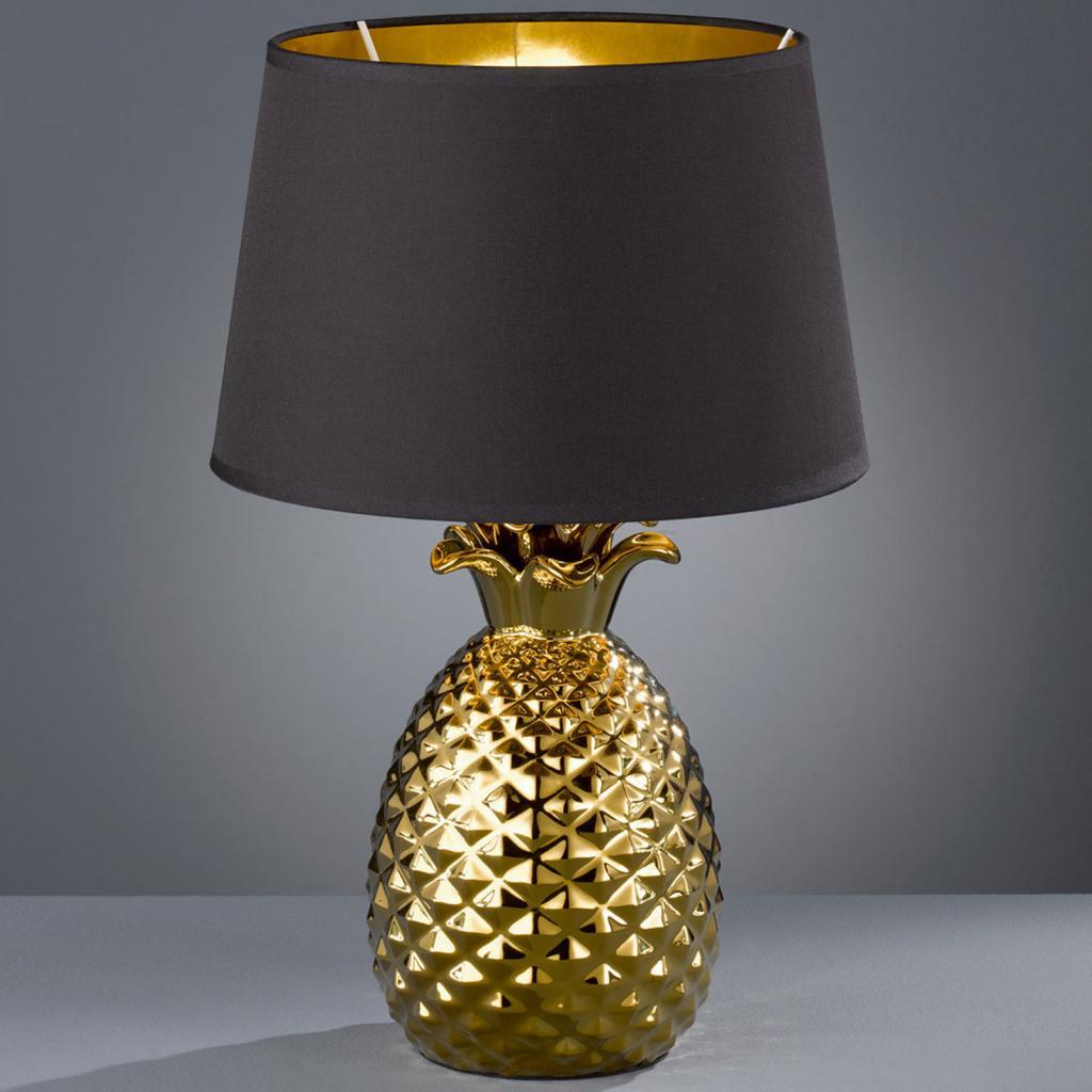 Produktové foto Reality Leuchten Zlatočerná textilní stolní lampa Pineapple, 45 cm