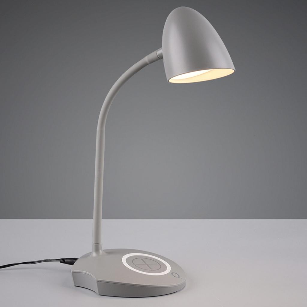 Produktové foto Reality Leuchten Stolní lampa LED Load, indukční nabíječka, šedá