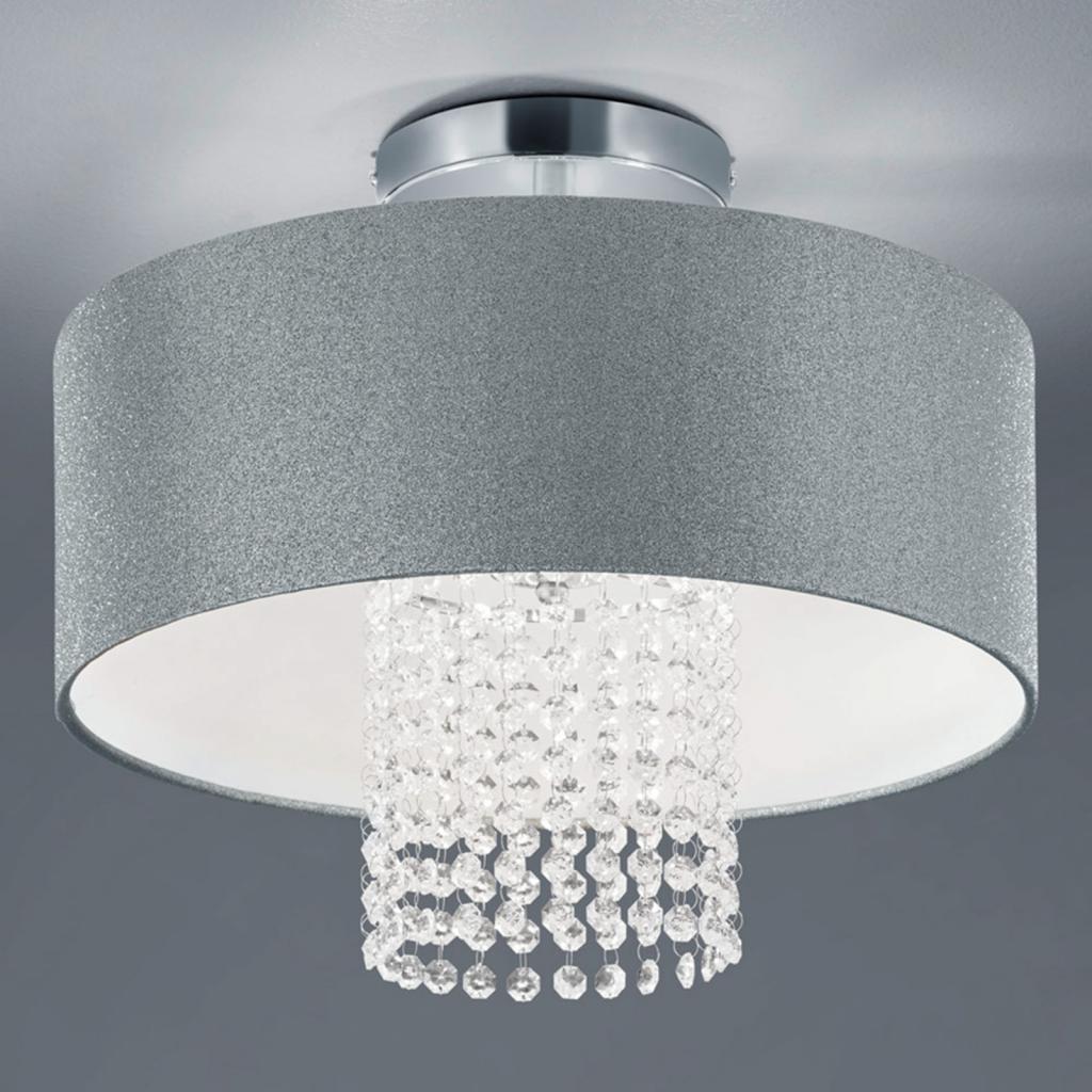 Produktové foto Reality Leuchten Stropní světlo King s textilním stínidlem stříbrné