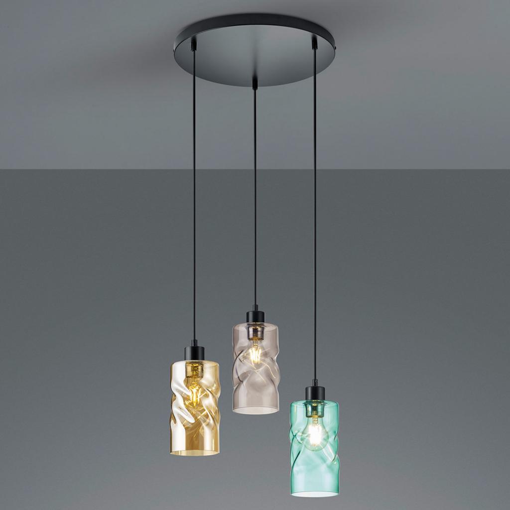 Produktové foto Reality Leuchten Závěsné světlo Swirl skleněná stínidla 3zdr kulaté