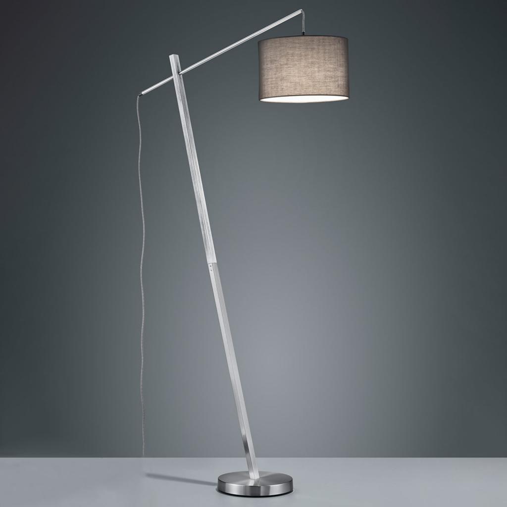 Produktové foto Reality Leuchten Stojací lampa Padme šedé textilní stínidlo