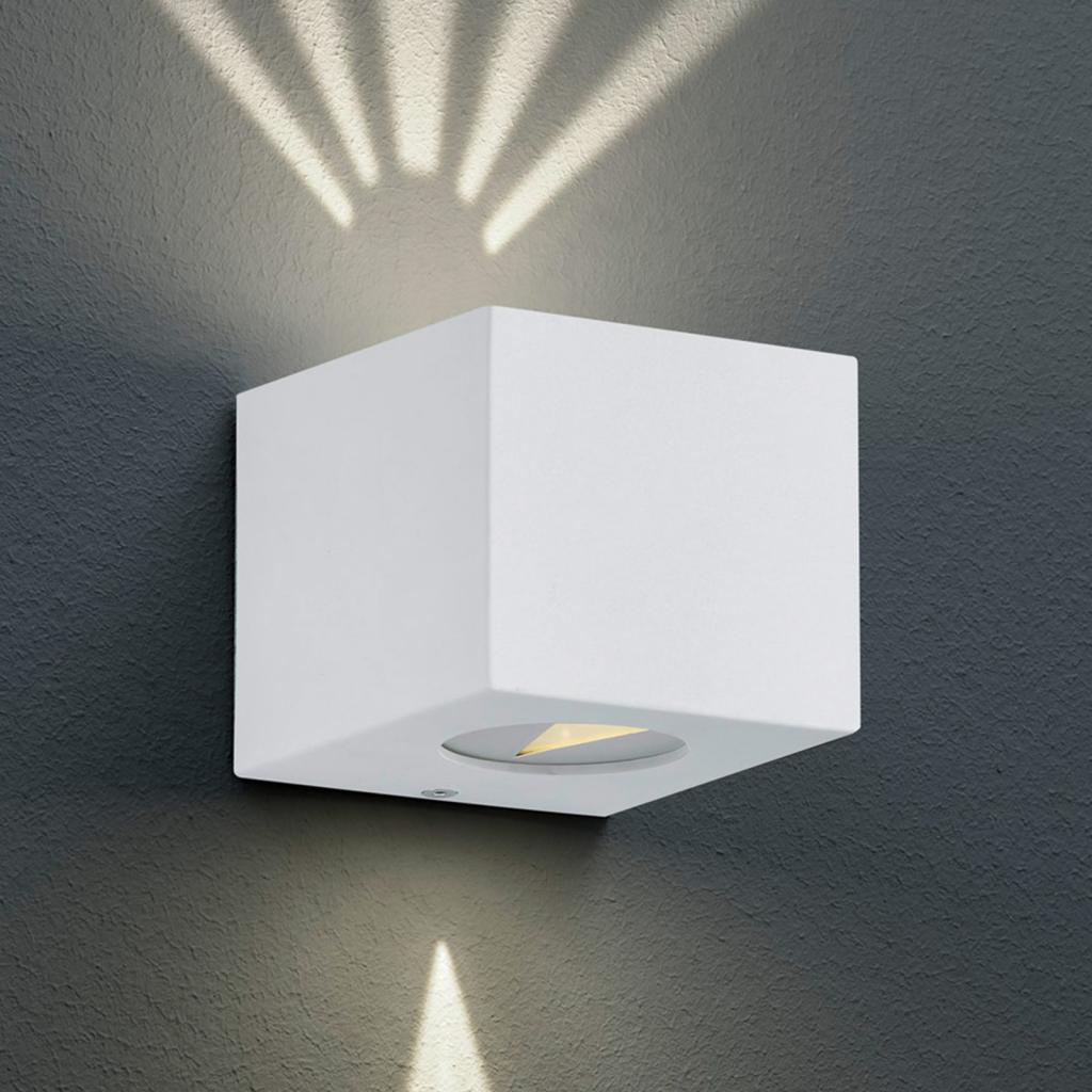 Produktové foto Reality Leuchten Hranaté LED venkovní nástěnné světlo Cordoba, bílé
