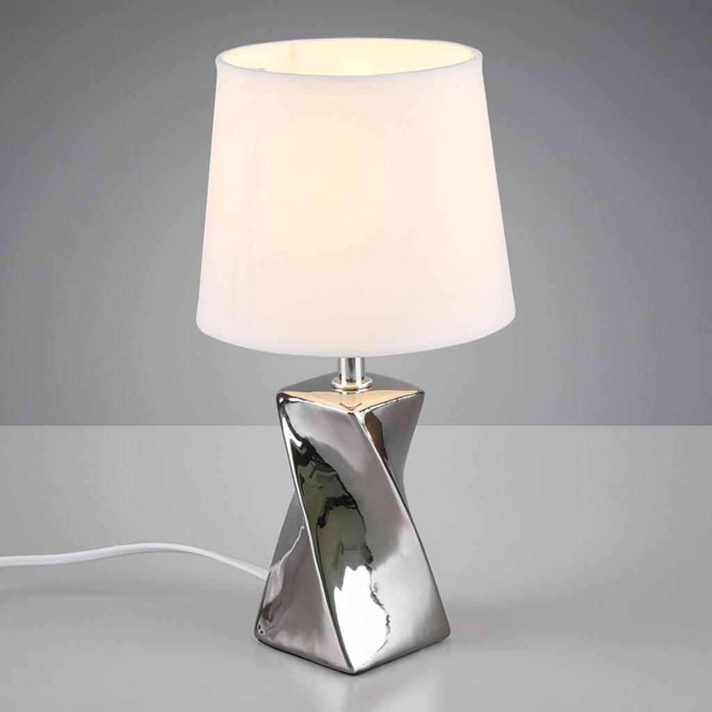 Produktové foto Reality Leuchten Stolní lampa Abeba, Ø 15 cm, bílo-stříbrná