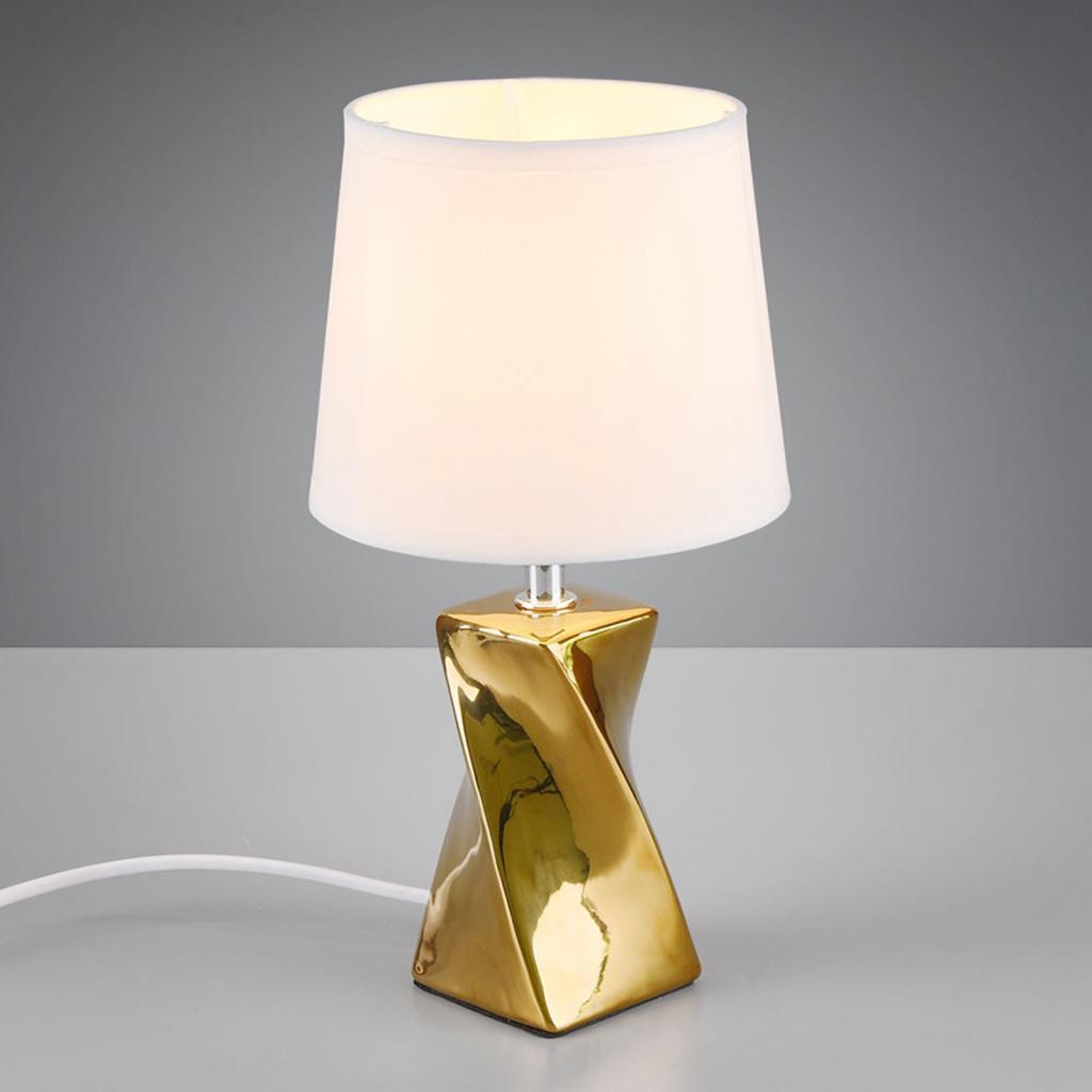 Produktové foto Reality Leuchten Stolní lampa Abeba, Ø 15 cm, bílo-zlatá