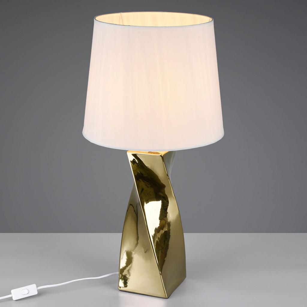 Produktové foto Reality Leuchten Stolní lampa Abeba, Ø 34 cm, bílo-zlatá
