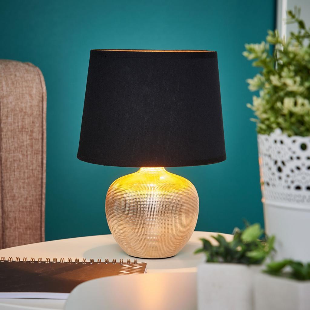 Produktové foto Lindby Černo-zlatá stolní lampa Thorina
