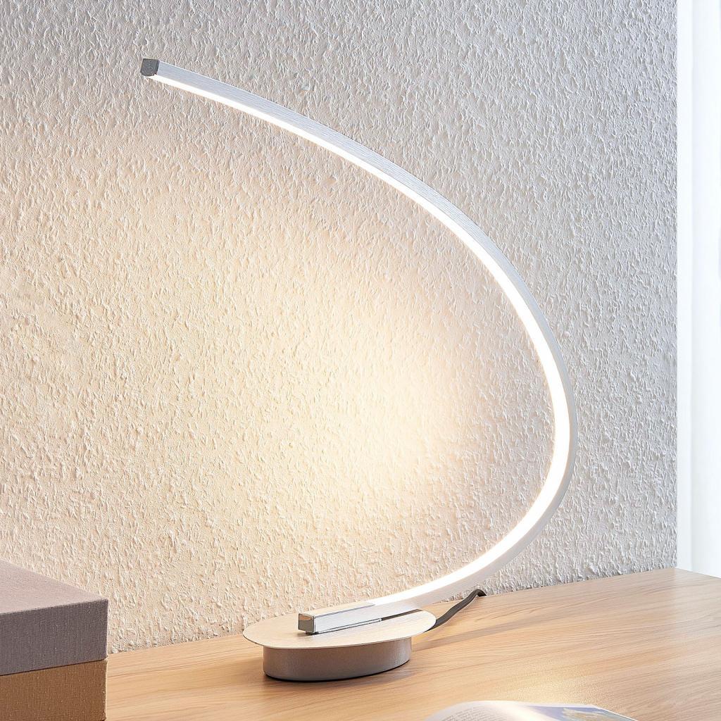 Produktové foto Lindby Stolní LED svítidlo Nalevi, obloukovité, stříbro