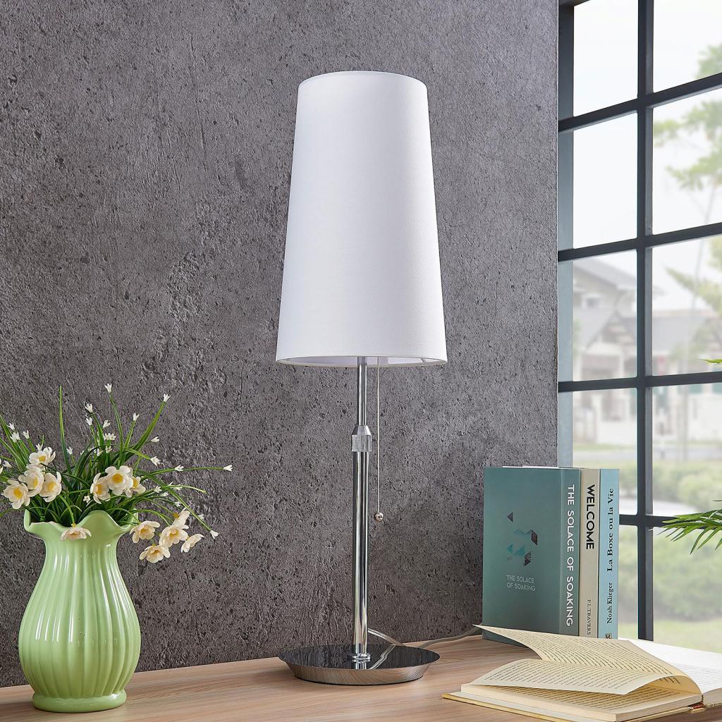 Produktové foto Lucande Lucande Pordis stolní lampa, chrom-bílá