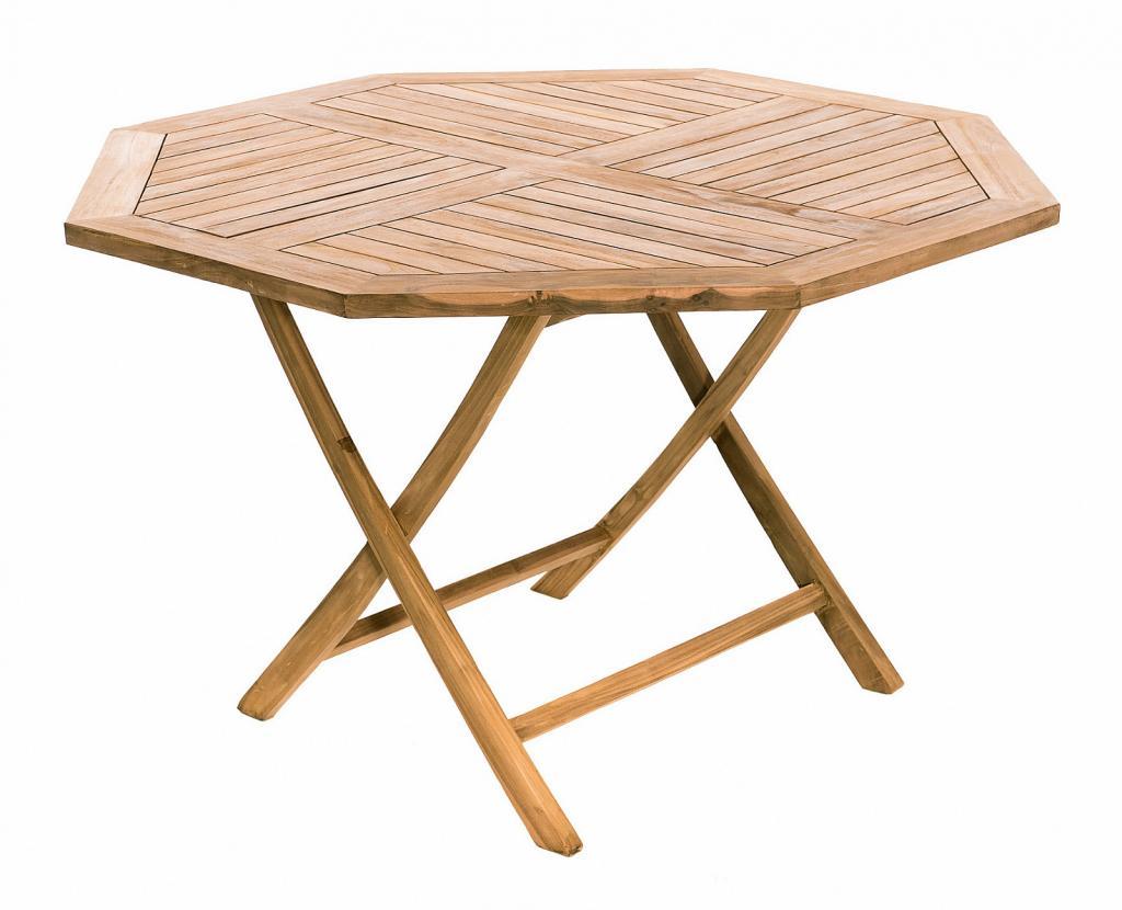 Produktové foto DEOKORK Zahradní skládací stůl osmiúhelník HAGEN ⌀ 120 cm (teak)