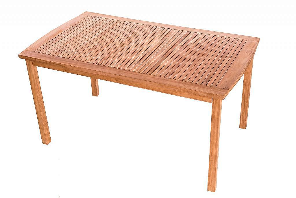 Produktové foto DEOKORK Zahradní pevný stůl obdelník HARMONY 150x90 cm (teak)