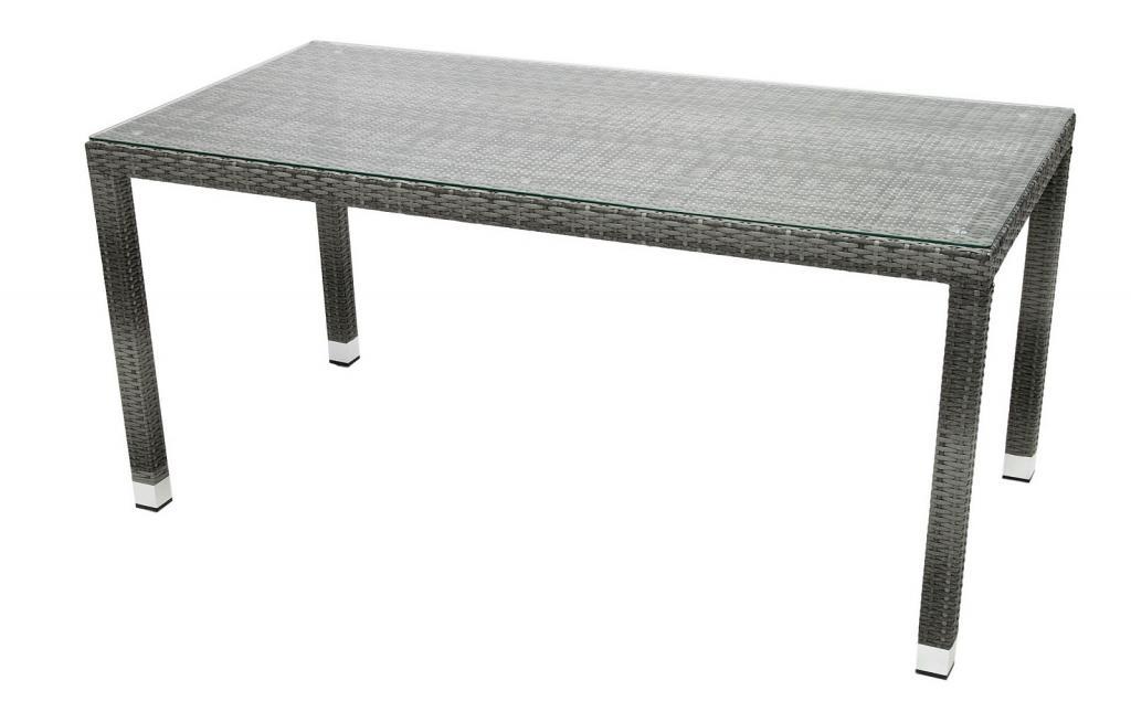 Produktové foto DEOKORK Zahradní ratanový stůl NAPOLI 160x80 cm (šedá)