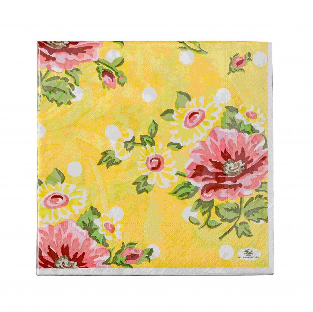 Produktové foto Rosenthal Springtime Flowers ubrousky s květinovým motivem, žlutý podklad, 33 x 33 cm