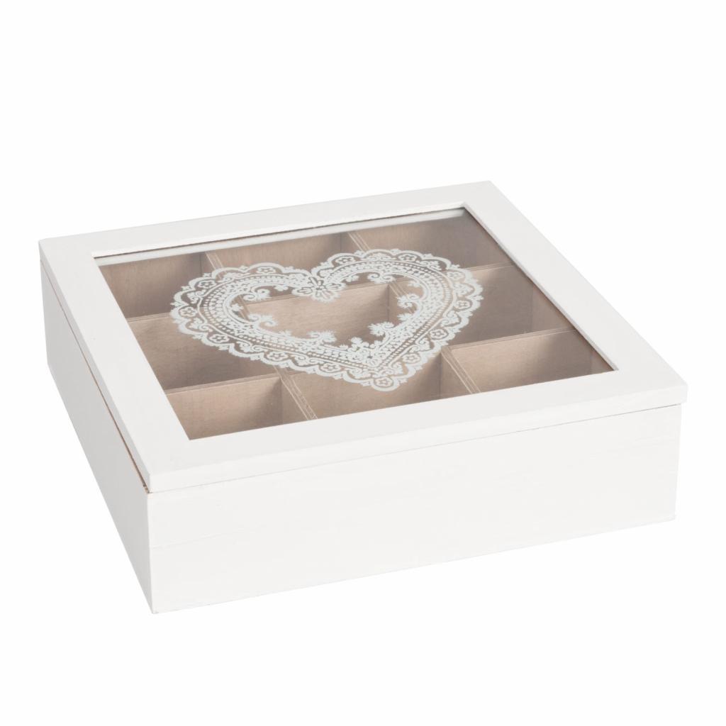 Produktové foto Krabička na čaj s dekorem srdce -24*24*7 cm