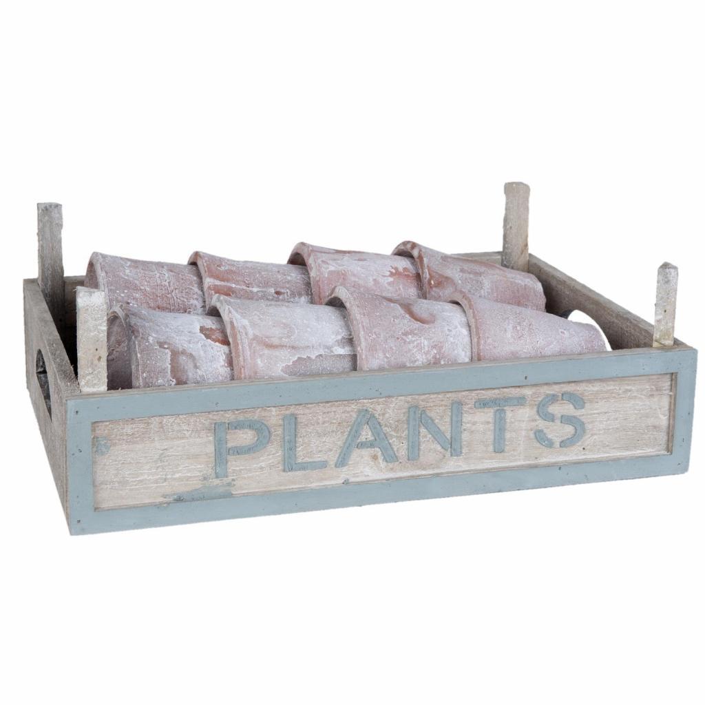 Produktové foto Květináče v dřevěné bedýnce - Ø 10*9/33*24*12 cm
