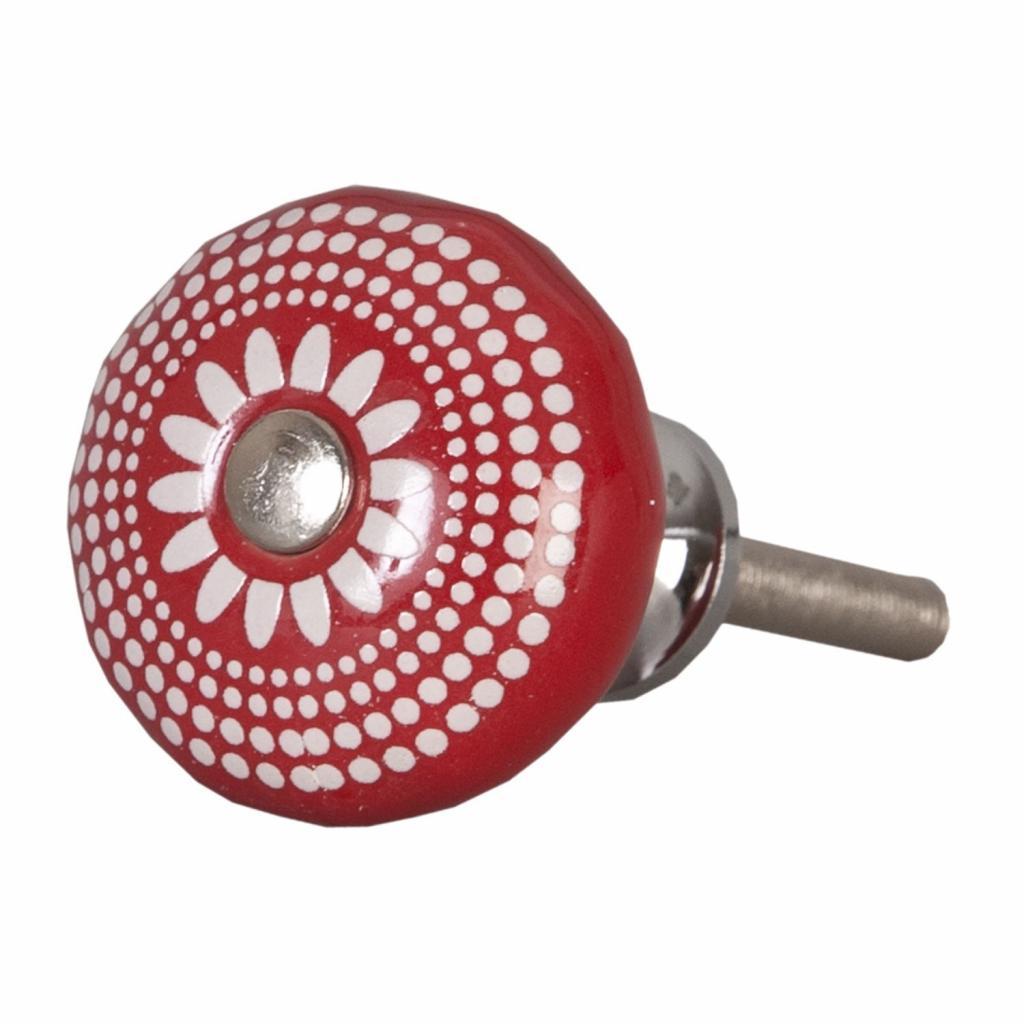 Produktové foto Keramická úchytka červená retro - Ø 3 cm
