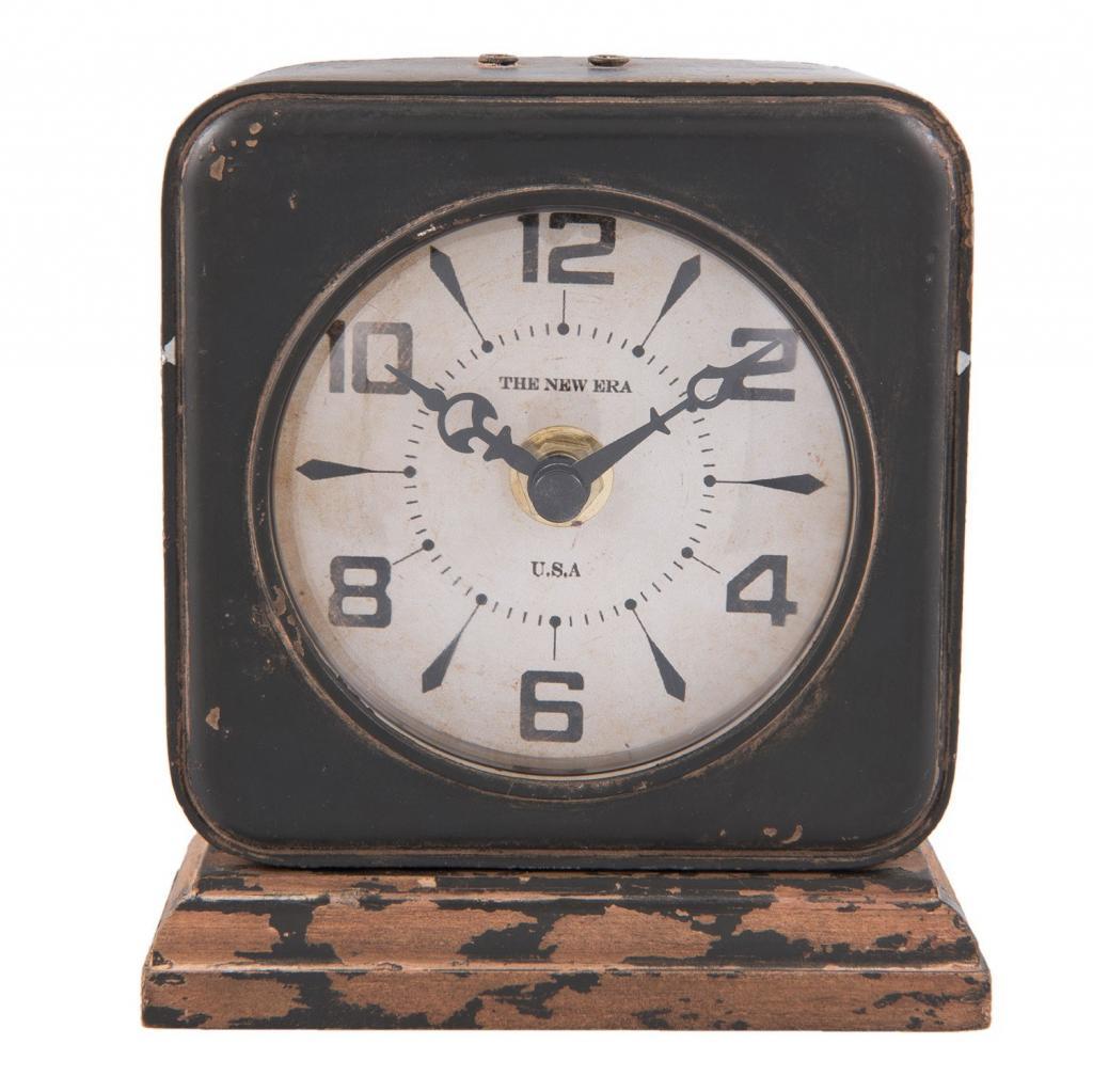 Produktové foto Kovové stolní retro hodiny s patinou - 11*5*12 cm