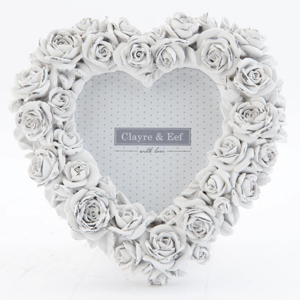 Produktové foto Fotorámeček srdce bílý s růžičkami - 15*2*15 cm / 9*9 cm