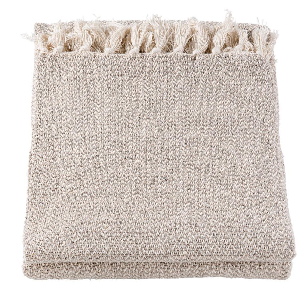 Produktové foto Šedo-hnědý bavlněný pléd s třásněmi - 150*180 cm