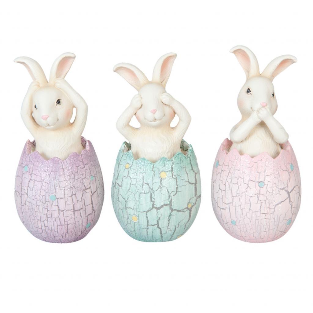 Produktové foto Dekorace zajíčci ve vajíčku (set 3 ks) - Ø6*13cm