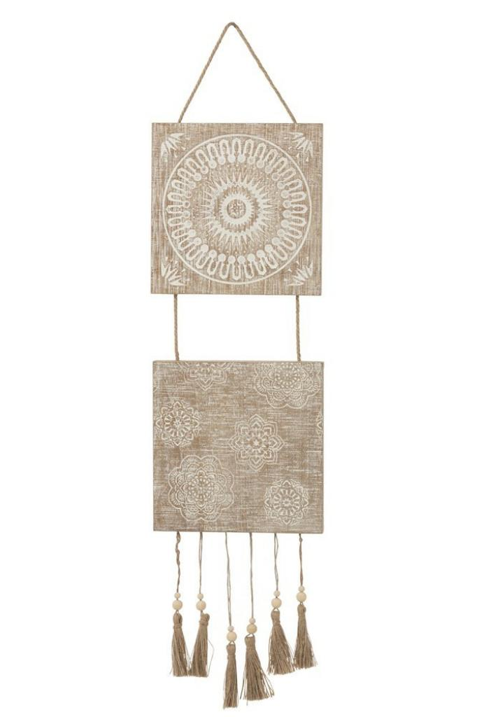 Produktové foto Dřevěná nástěnná cedule s třásněmi - 25*2*98cm